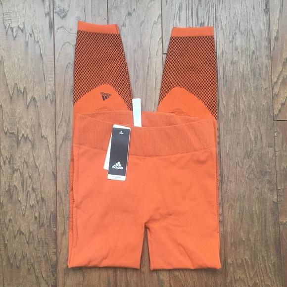 c987e4c152bda adidas Pants   Nwt Warp Knit Tights Leggings Orange Size L   Poshmark